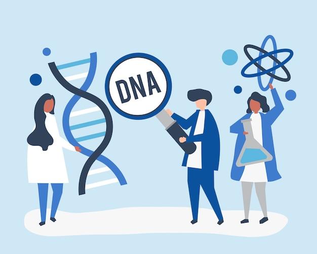 Genetische wetenschappers die onderzoek en experimenten uitvoeren Gratis Vector