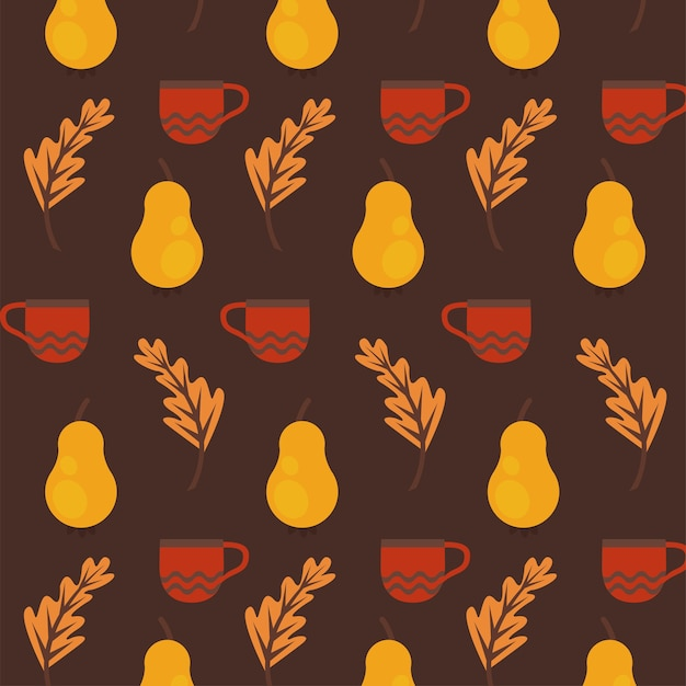 Geniet van de herfstposter met patroon van droog fruit en bladeren. Premium Vector