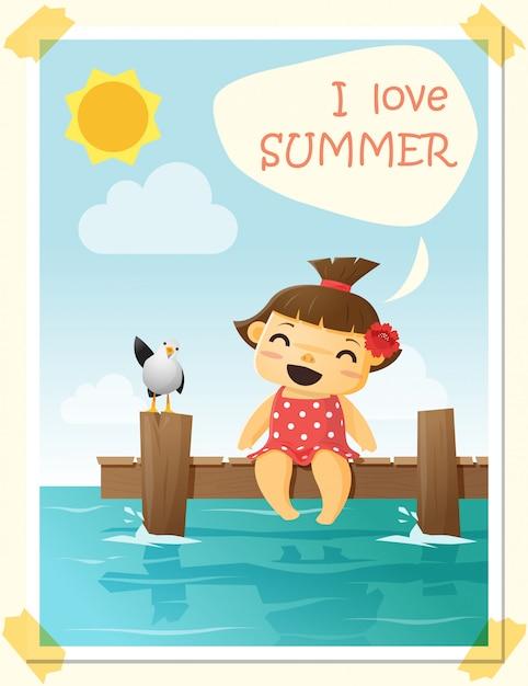 Geniet van tropische zomervakantie met een klein meisje Premium Vector