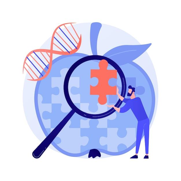 Genoommodificatie, wijziging van de dna-sequentie. toekomstige wetenschap, biotechnologiestudie, ontwerpelement voor bio-engineeringideeën. genetische structuuranalyse. vector geïsoleerde concept metafoor illustratie Gratis Vector