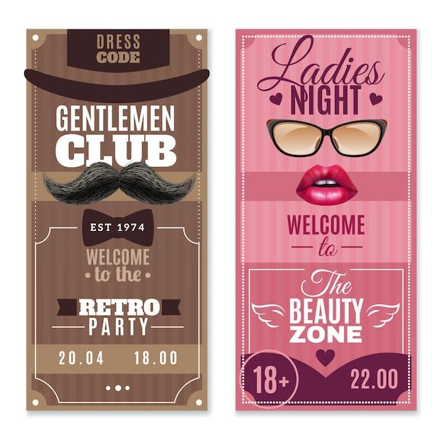 Gentlemen ladies special events banners set Gratis Vector