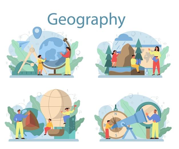 Geografie klasse concept set. het bestuderen van de landen, kenmerken, bewoners van de aarde. in kaart brengen en omgevingsonderzoek. Premium Vector