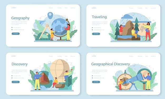 Geografie klasse webbanner of bestemmingspagina-set. wereldwijde wetenschap die de landen, kenmerken en bewoners van de aarde bestudeert. in kaart brengen en omgevingsonderzoek. Premium Vector