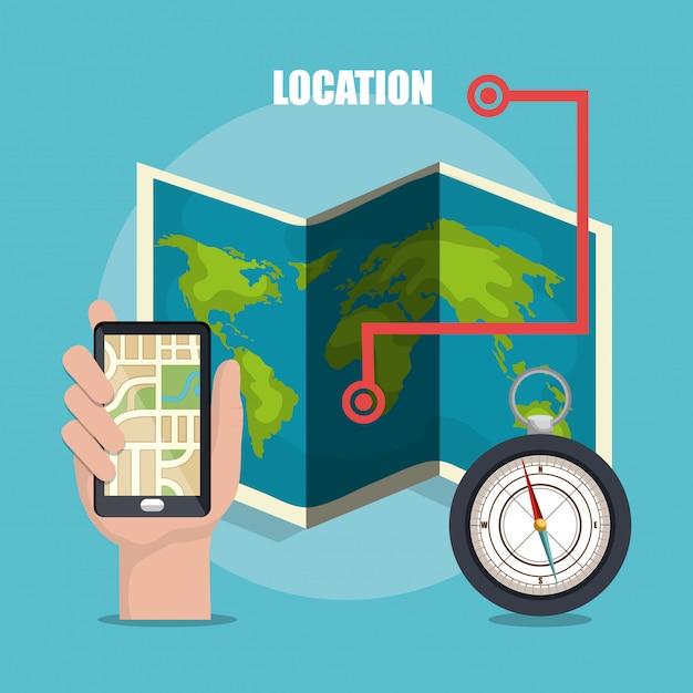 Geografisch locatiesysteem Gratis Vector