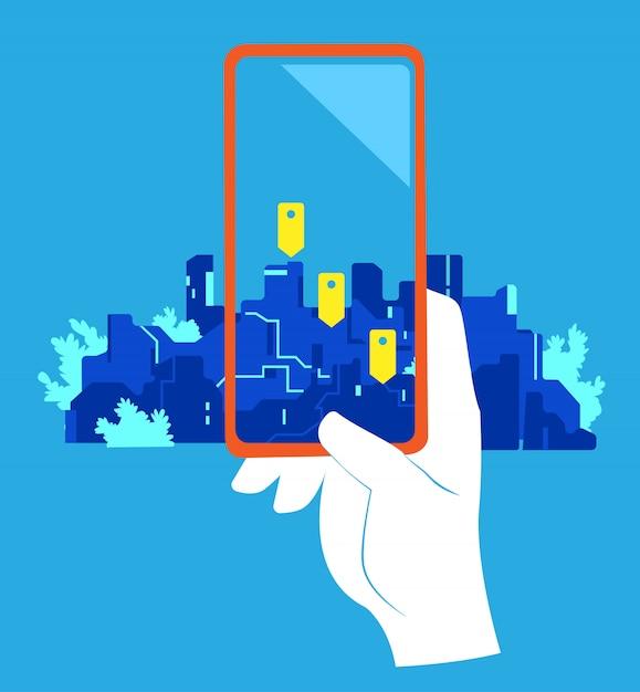 Geolocatie-app. een hand die een mobiel met het scherm van geospelden tegen de stad richt Premium Vector