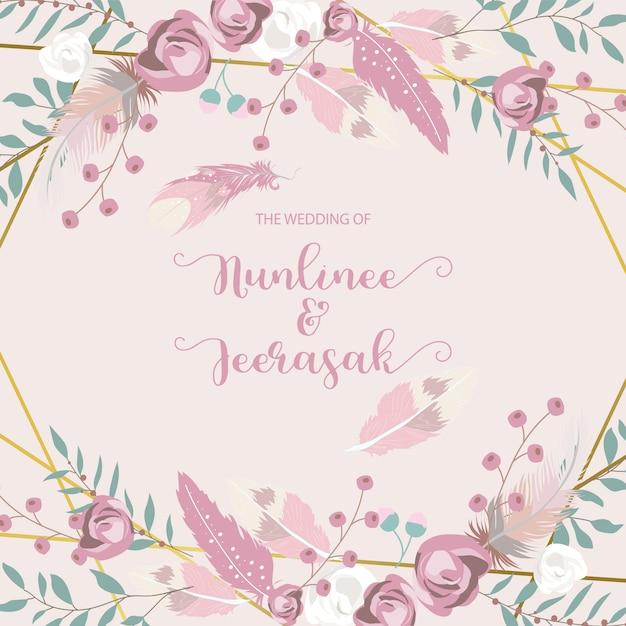 Geometrie chique bruiloft uitnodiging Premium Vector