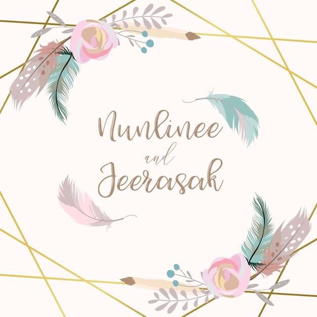 Geometrie gouden bruiloft uitnodigingskaart met bloem, blad, lint, krans, veren en frame Premium Vector
