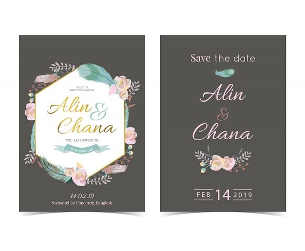 Geometrie gouden bruiloft uitnodigingskaart met en frame Premium Vector