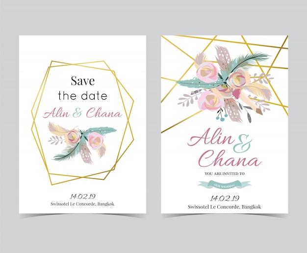 Geometrie gouden bruiloft uitnodigingskaart met frame Premium Vector