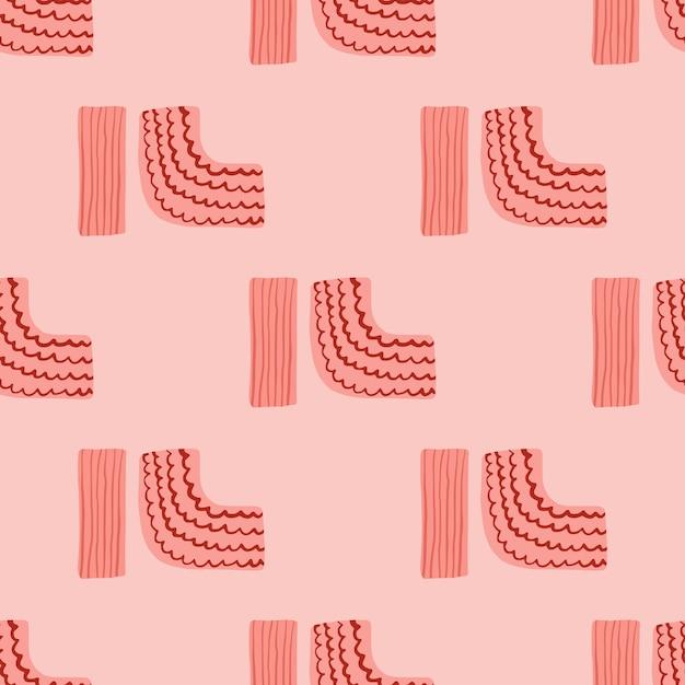 Geometrie ornament naadloze patroon. eenvoudige cijfers met stroken op roze achtergrond. minimalistische eindeloze achtergrond. Premium Vector