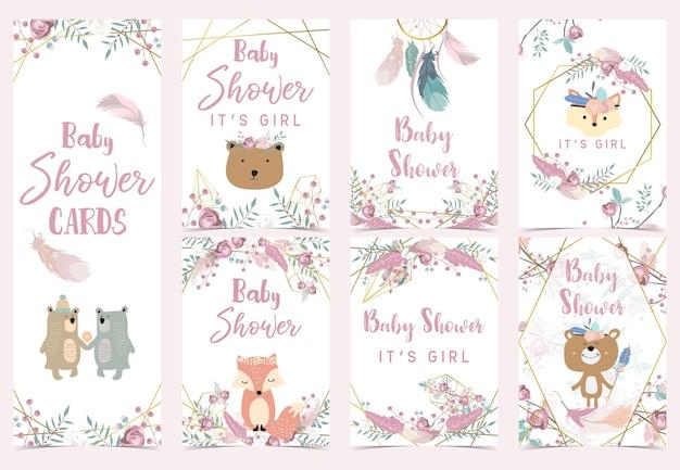 Geometrie roze gouden boho uitnodigingskaart met roos, blad, krans, veer, beer, vos en frame Premium Vector