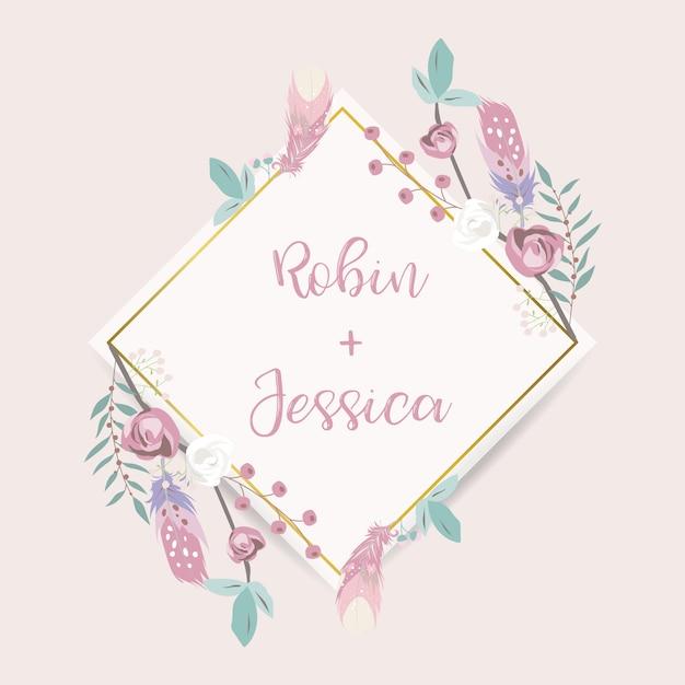 Geometrie roze gouden bruiloft uitnodigingskaart met roos Premium Vector