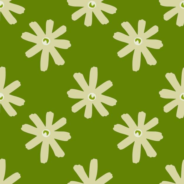Geometrisch abstract bloemen naadloos patroon met madeliefjebloemen Premium Vector