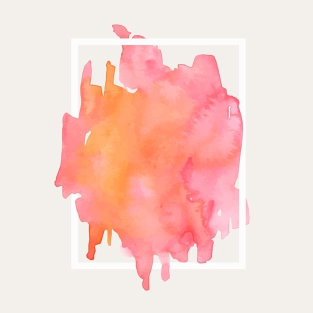 Geometrisch frame met aquarel gradiënt roze vlek Gratis Vector