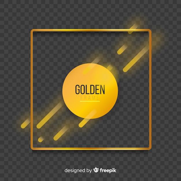 Geometrisch gouden frame met lichteffecten Gratis Vector