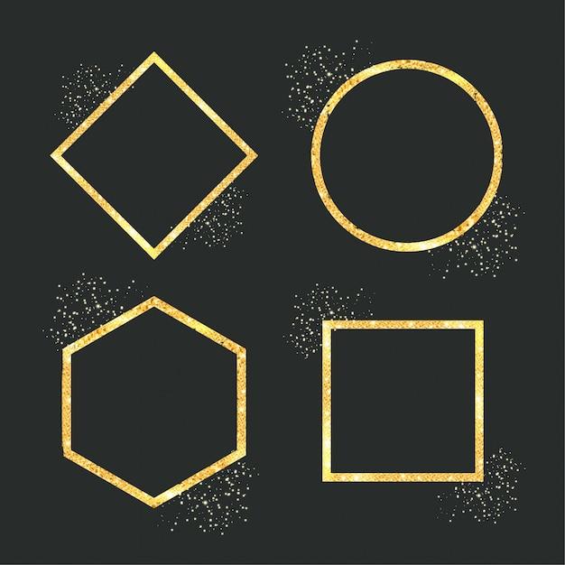 Geometrisch gouden glitter frame Gratis Vector