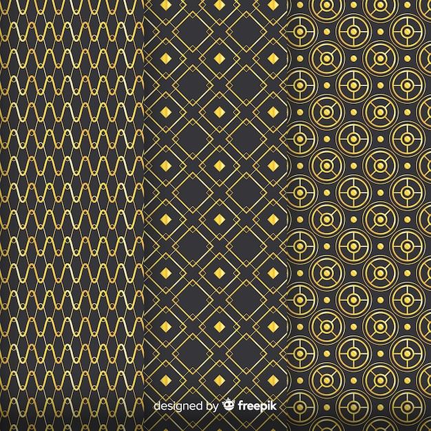 Geometrisch gouden luxe patroonpakket Gratis Vector