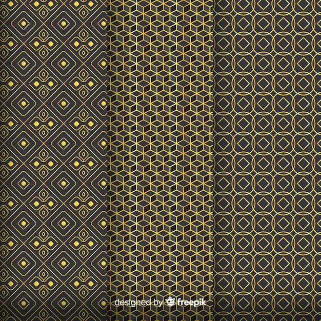 Geometrisch gouden luxepatroon assembleert Gratis Vector