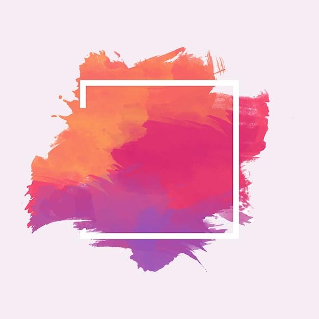 Geometrisch kader op kleurrijke waterverfvlek Gratis Vector