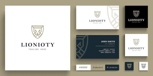 Geometrisch leeuwenkoplogo - leeuwenkoplogo met visitekaartjeconcept Premium Vector