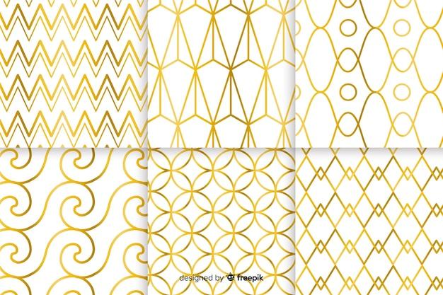 Geometrisch luxe patroon collectie concept Gratis Vector