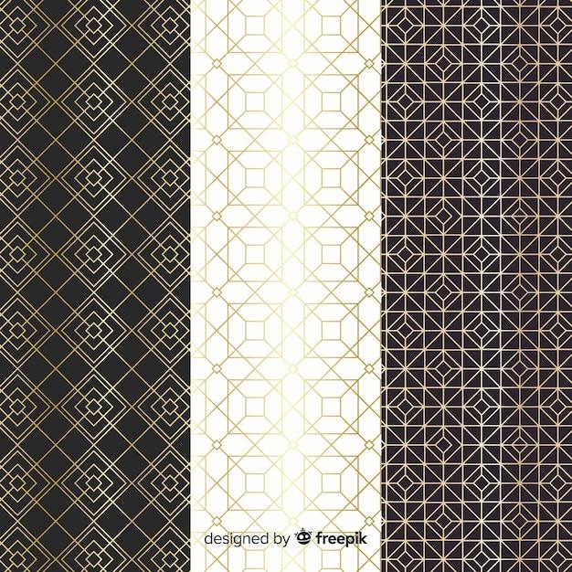 Geometrisch luxe patroon collectieontwerp Gratis Vector