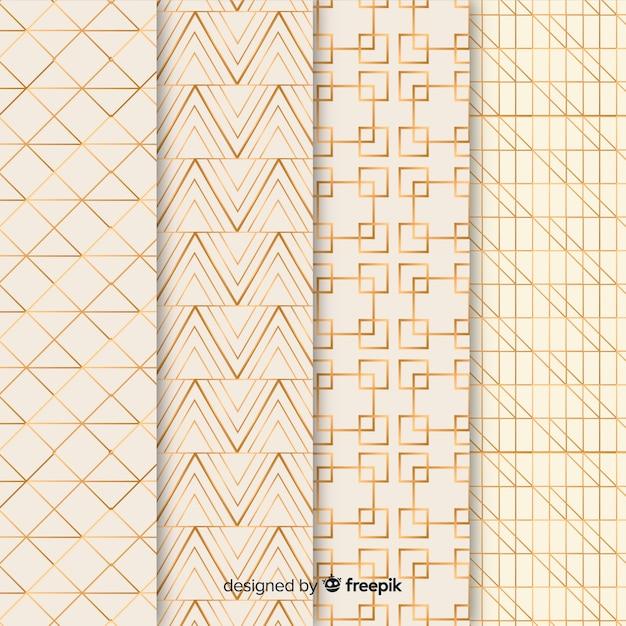 Geometrisch luxe patroonpakket Gratis Vector