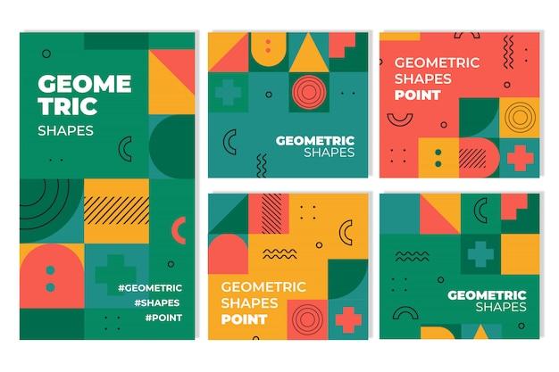 Geometrisch omslagcollectie grafisch ontwerp Premium Vector