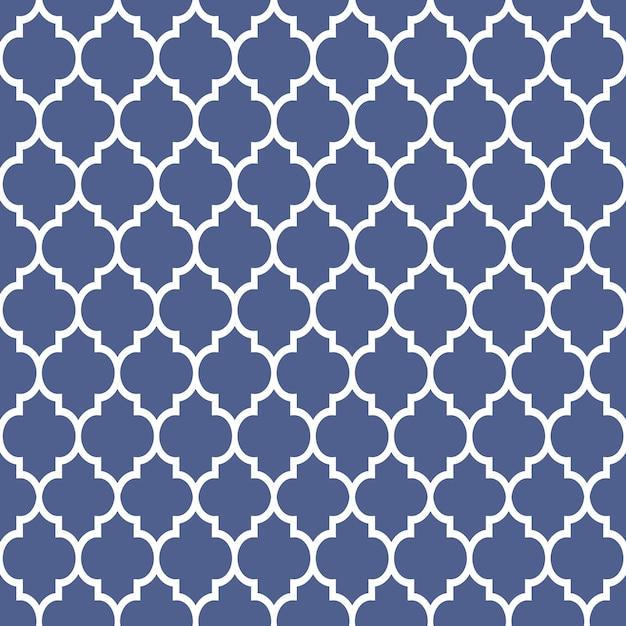 Geometrisch patroon in arabische stijl, blauw en wit ornament Premium Vector