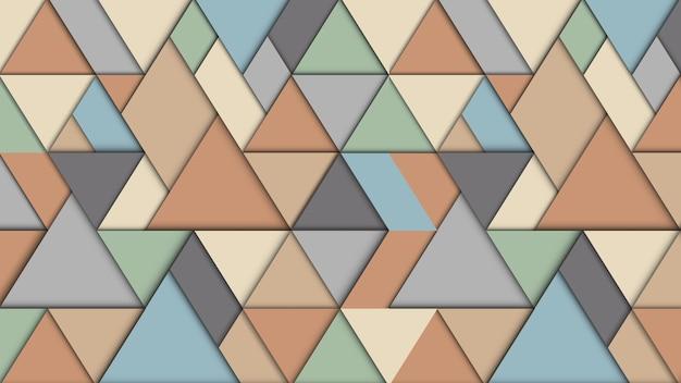Geometrische abstracte achtergrond met driehoeken, 3d-effect, retro pastel kleuren Premium Vector