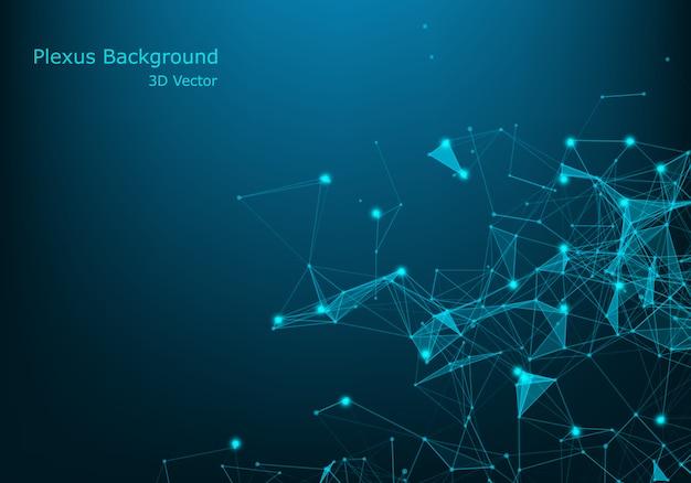 Geometrische abstracte achtergrond met verbonden lijn en punten. big data-visualisatie. wereldwijde netwerkverbinding vector. Premium Vector