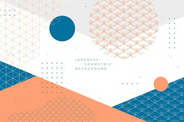 Geometrische achtergrond in japanse stijl Gratis Vector