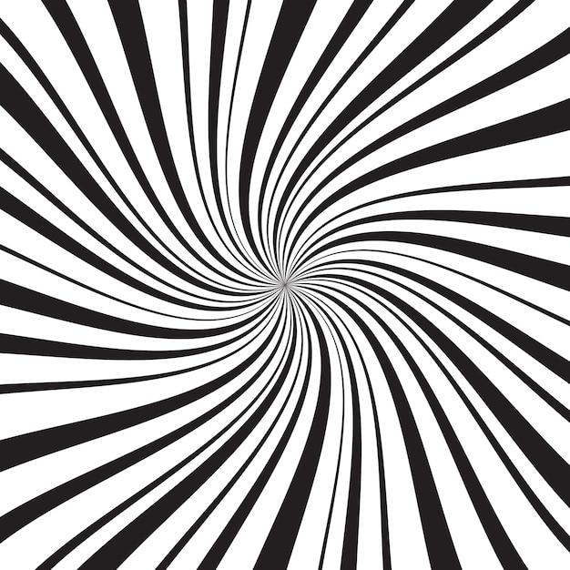 Geometrische achtergrond met dunne en dikke radiale stralen, lijnen of strepen die rond midden wervelen Premium Vector