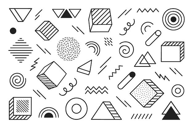 Geometrische achtergrond met verschillende hand getrokken abstracte vorm. universele trend halftoon geometrische vormen. moderne illustratie. Premium Vector