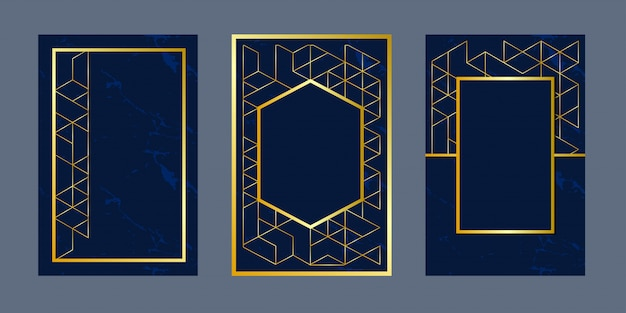 Geometrische achtergrond uitnodigingskaarten Premium Vector