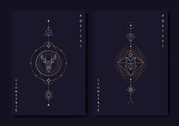 Geometrische astrologische symbolen tarotkaart Gratis Vector
