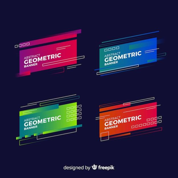 Geometrische banner banner met geometrische vormen Gratis Vector