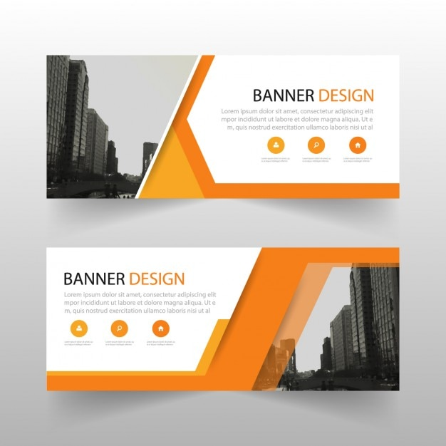 Geometrische banner met oranje vormen Gratis Vector