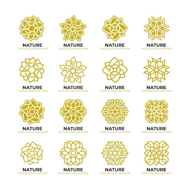 Geometrische bloem aard logo sjabloon Premium Vector