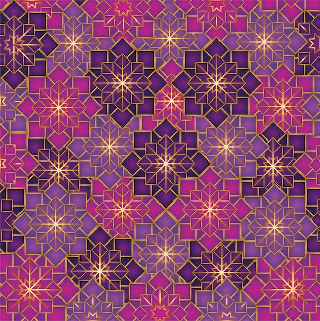 Geometrische bloemen patroon decoratie Gratis Vector