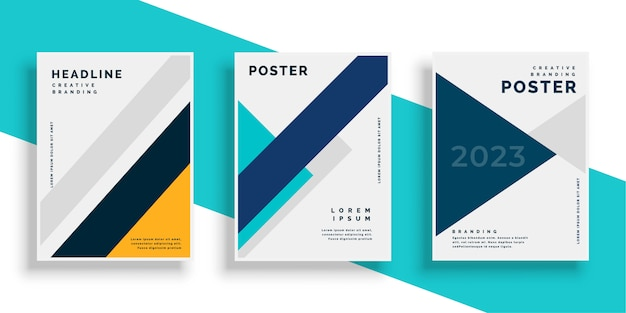 Geometrische boekomslag flyer ontwerpen instellen Gratis Vector