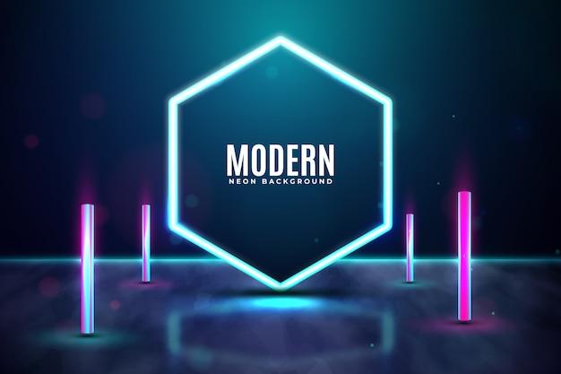 Geometrische concept neonlichten achtergrond Gratis Vector