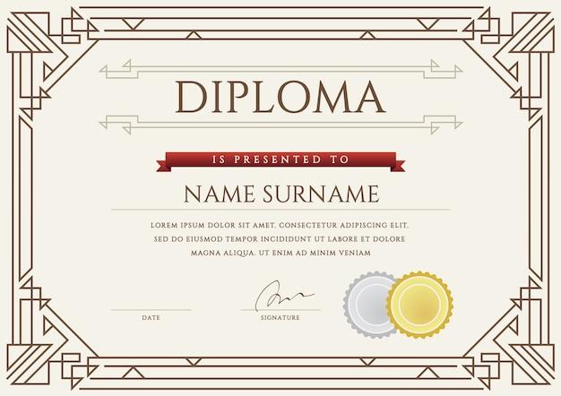 Geometrische diploma sjabloon Premium Vector