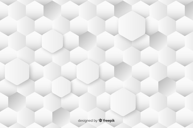 Geometrische eerbiedige maten zeshoeken achtergrond in papierstijl Gratis Vector