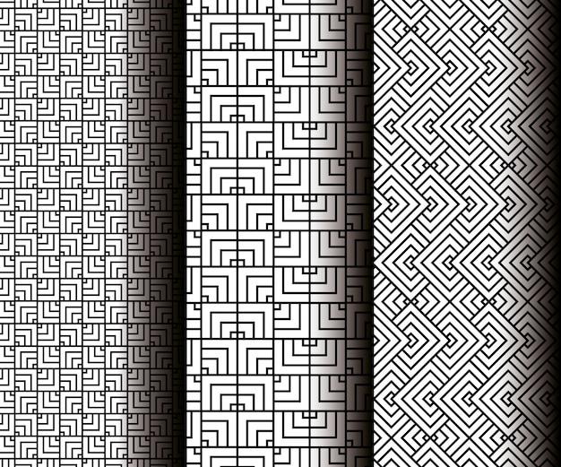 Geometrische figuren instellen in grijze naadloze patronen Gratis Vector