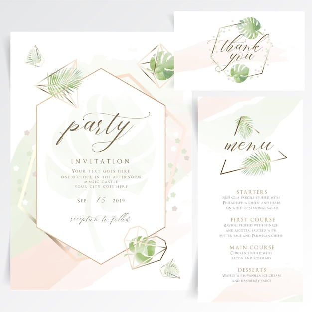 Geometrische floral partij uitnodigingskaart met tafelmenu Premium Vector