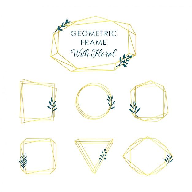 Geometrische frames goud Premium Vector