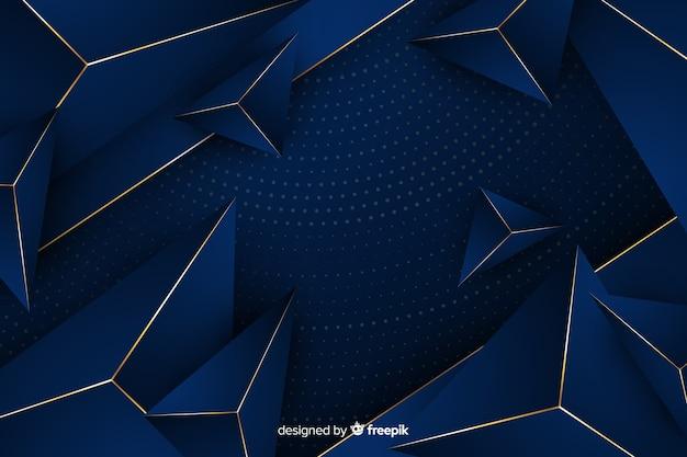 Geometrische gouden en blauwe achtergrond Gratis Vector