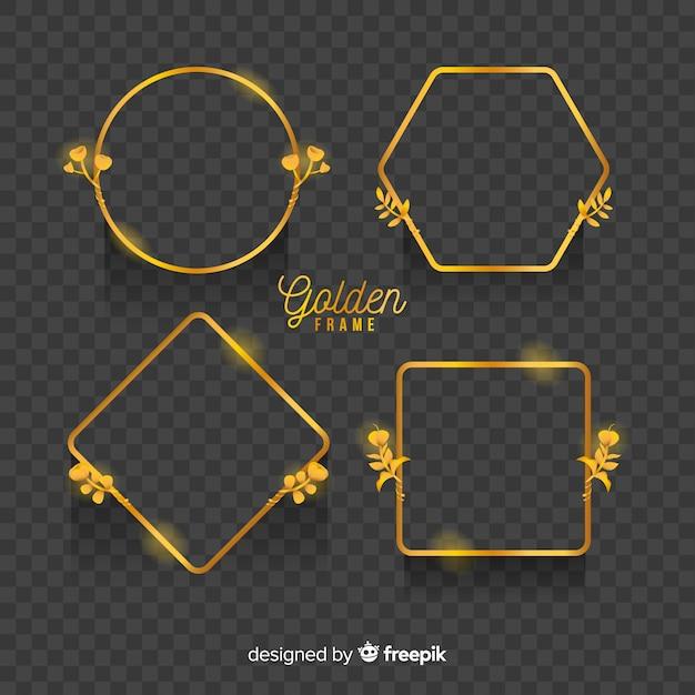 Geometrische gouden frames instellen met lichteffecten Gratis Vector