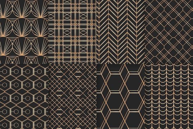 Geometrische gouden luxe patroon ingesteld Gratis Vector